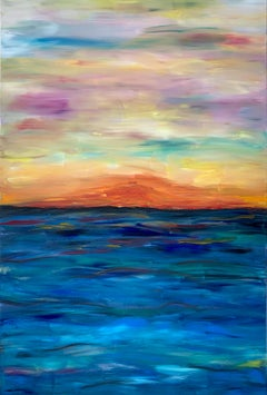 Sunset Vibes by Katharina Husslein Blue Colorful Contemporary Painting