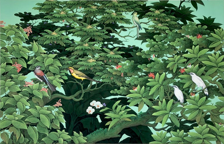 Beautiful painting of lots of leaves and details with different birds in the trees in the rainforest. Very peaceful and contemporary painting. Lots of detailed shades of plants and flowers in subtle hues. It is a large size statement piece for a