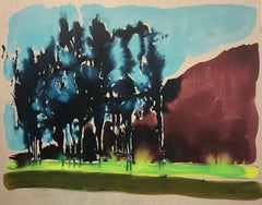 Afternoon Light, blue and green oil painting of landscape