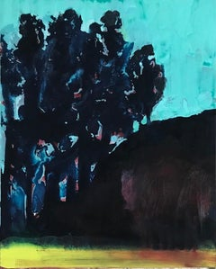 Evening Mountain, Blue and Black oil painting of landscape