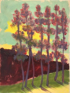 Morning Light, pink and green oil painting of landscape