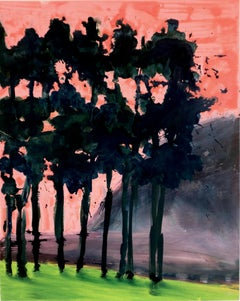 Morning Mountain I, pink and green oil painting of landscape