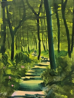 Spring Forest I, green oil painting of landscape