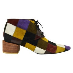Katharine Hamnett Suede & Leather Patchwork Pointed Toe Ankle Boots, 1990s