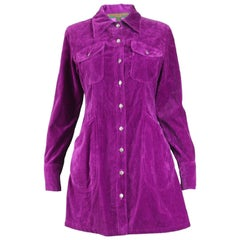 Katharine Hamnett Vintage 1990s Magenta Velvet Mini Shirt Dress, 1990s