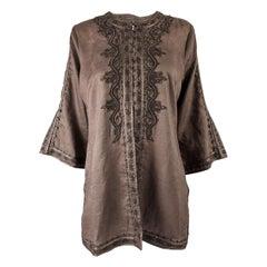 Katharine Hamnett Vintage Brown Linen Embroidered Tunic Top