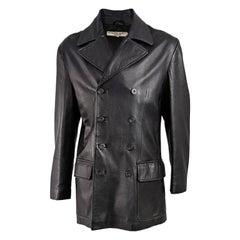 Katharine Hamnett Vintage Mens Black Leather Pea Coat