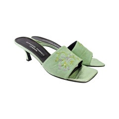 Katharine Hamnett Vintage Sequin Embroidered 1990s Low Heel Mules Shoes 40