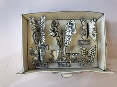 """""""Butterfly box"""" porcelain and black stain ceramic sculpture"""