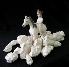 """Girl in the Clouds"" porcelain ceramic sculpture of woman riding a horse"