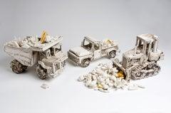 """Shifting Diamonds"" fun porcelain ceramic sculpture installation, w three trucks"