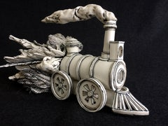"""Strange Cargo"", whimsical porcelain black and white sculpture of moving train"