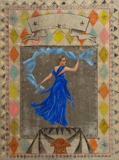 """""""Danseuse Bleue"""" Painting in Glass Frame 51"""" x 38""""in by Katherine Bakhoum Tisné"""