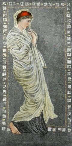 """""""la Belle au Drapé Jaune""""  Painting 51""""x38""""in by Katherine Bakhoum Tisné"""