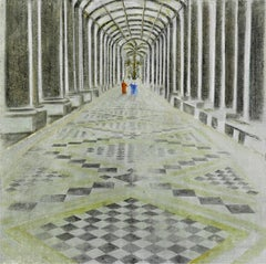 """L'enfilade"" Painting in Glass Frame 47""x47""inch by Katherine Bakhoum Tisné"