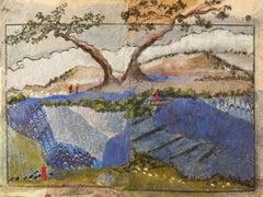 """Près Du Lac"" Mixed Media Collage in Glass Frame by Katherine Bakhoum Tisné"