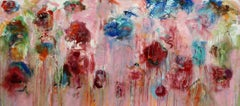 """Figments"", oil painting, abstract, pink, red, blue, green, expressionist"