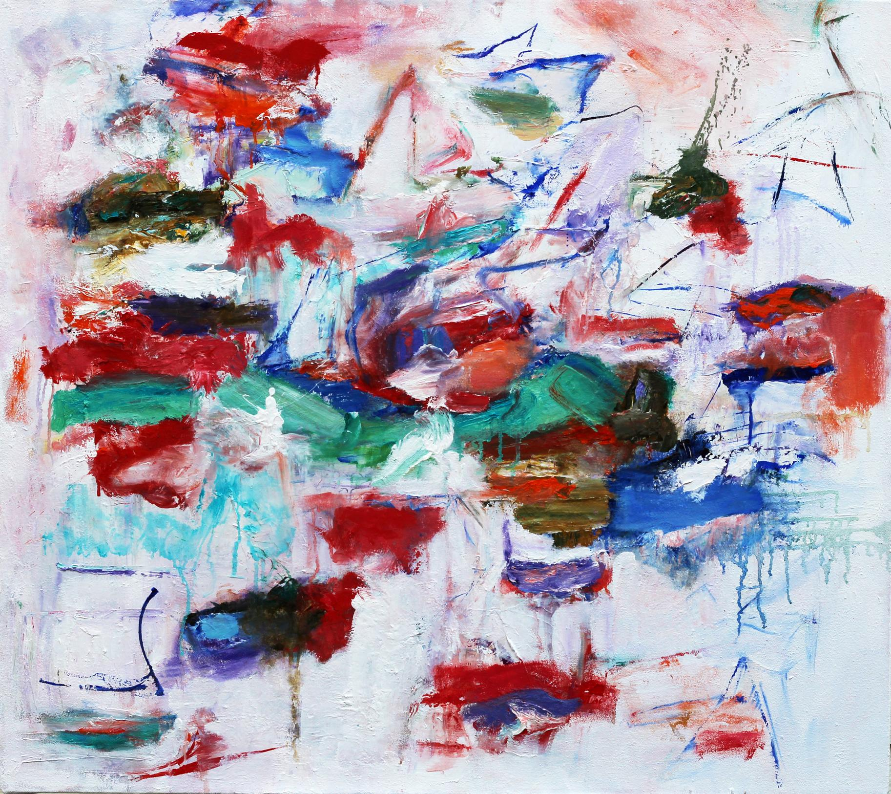 """""""High Note"""", oil painting, abstract, red, blue, green, white"""