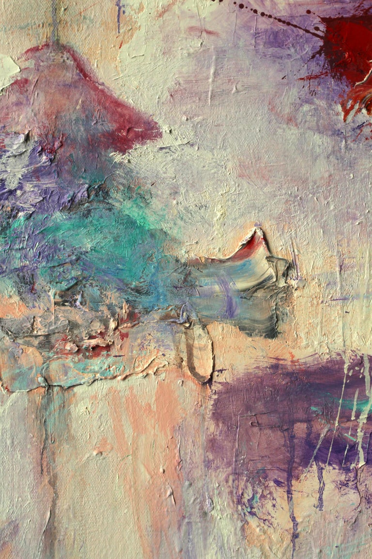 Lost Keys - Gray Abstract Painting by Katherine Borkowski-Byrne