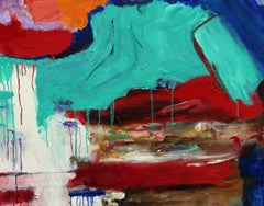 """New Horizons"", oil painting, abstract, expressionist, red, blue, white"