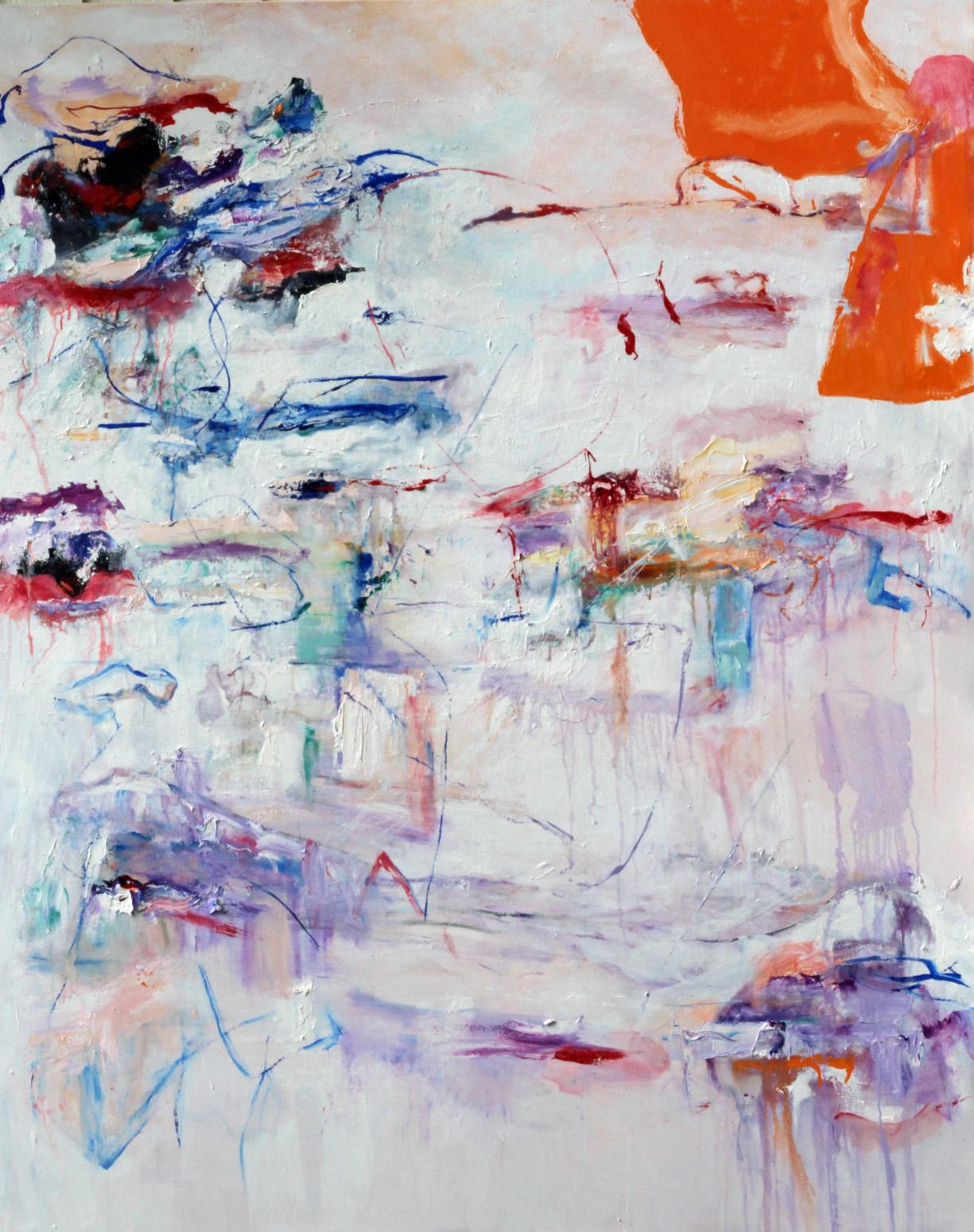 """""""Notes to Myself"""", oil painting, abstract, orange, blue, red, purple, white"""