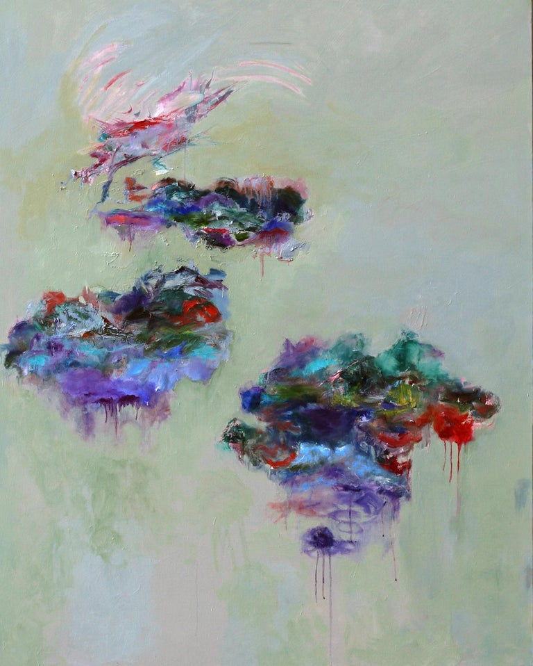 """Personal Voyage"", Katherine Borkowski-Byrne, oil painting, abstract, blues - Painting by Katherine Borkowski-Byrne"