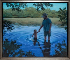 """Holding On"", Figurative Oil Painting Father and Son in Lake, Blue, Green"
