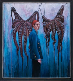 """I Dare You"", Figurative Oil Painting, Portrait, Woman Smoking, Octopus"