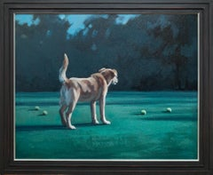 """In Our Nature"", Dog in Landscape with Tennis Balls Oil Painting"