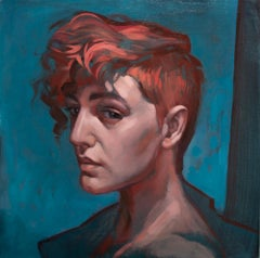 """""""Rebel"""", Figurative, Oil Painting, Portrait, Blue, Red, Realism"""