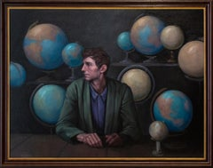 """Sphere"", Large Oil Painting of Pensive Man with Globes, Planets"