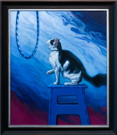 """The Benefits of an Open Mind"", Blue, Purple, White, Oil Painting of Cat"