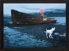 """""""The Messenger"""", Dog with balloons in front of shipwreck, oil painting"""