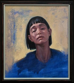"""What You See"", Blue and Yellow Portrait Oil Painting"