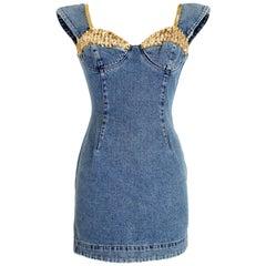 Katherine Hamnett Blue Gold Denim Sequins Short Dress