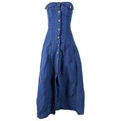 Katherine Hamnett Blue Linen Boned Maxi Dress