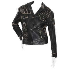 "Katherine Hamnett Fall/Winter 1990 ""Clean Up Or Die"" Studded leather jacket"