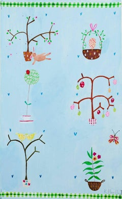 """Easter Trees KMH 039,"" Acrylic & Mixed Media signed by Katherine Hartley"