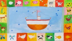 """Noah's Ark KMH 016,"" Acrylic Painting signed by Katherine Hartley"