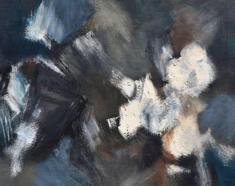 Blue, White, Black Space Abstract by Katherine Hu Fan For Sale 1