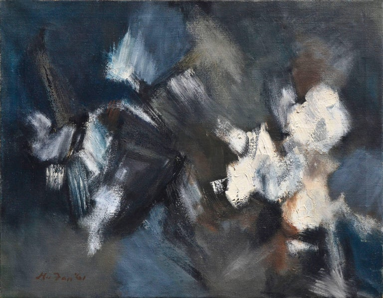 A blue, white and black abstract by Katherine Hu Fan (Chinese American), in the style of her earlier abstract work. The bold brushwork reflects the Western influence of Abstract Expressionism in her work. In some areas, paint is thinned to a nearly
