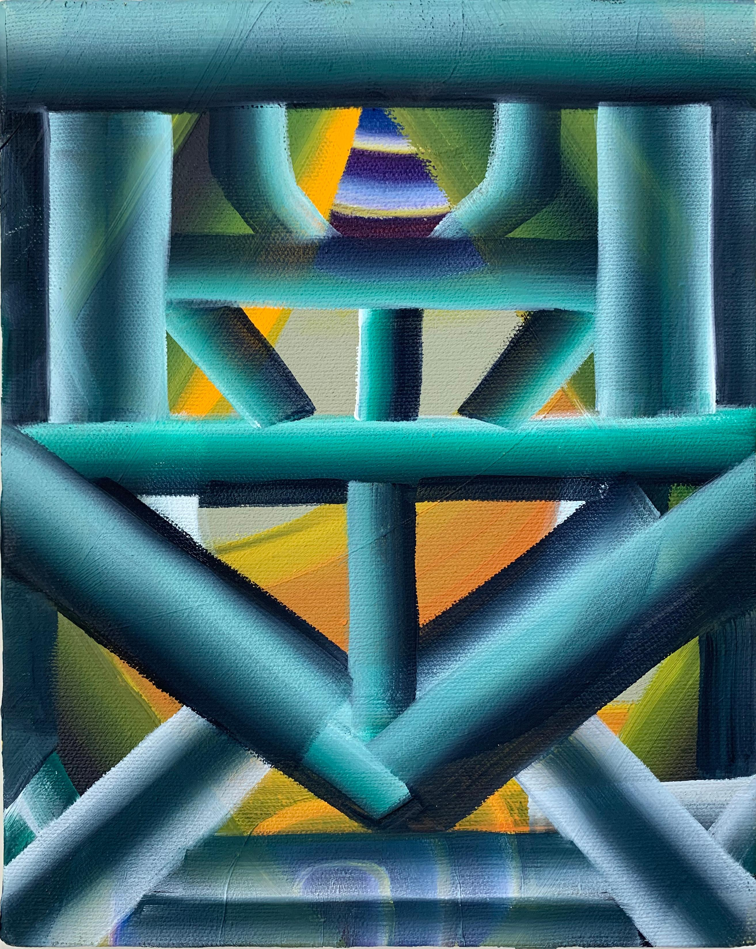 Each To Other, Oil on Canvas Painting, Abstract Geometric Pattern, Blue & Green