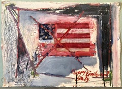 Abstract Expressionist Happy Bicentennial Baby, American Flag Collage Painting