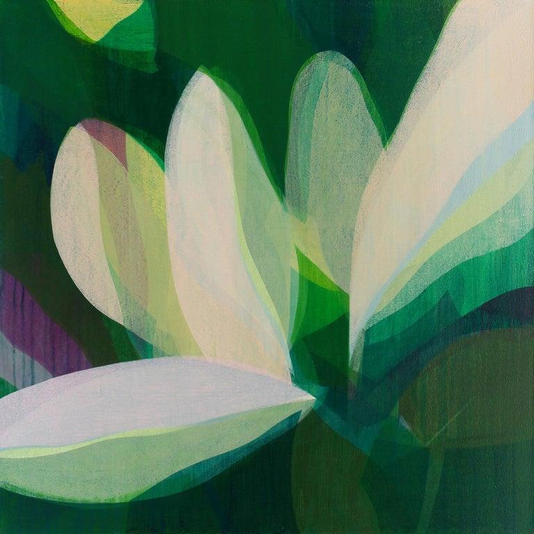 "Katherine Sandoz Landscape Painting - ""(Magnolia) Emerald"" - Colorful Abstract Botanical Painting - Frankenthaler"