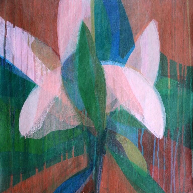 "Katherine Sandoz Abstract Painting - ""(Magnolia II) Carolina Blue"" - Abstract Botanical Painting - Frankenthaler"