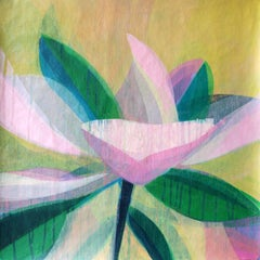 """(Magnolia II) Fern""  - Colorful Abstract Botanical Painting - Frankenthaler"