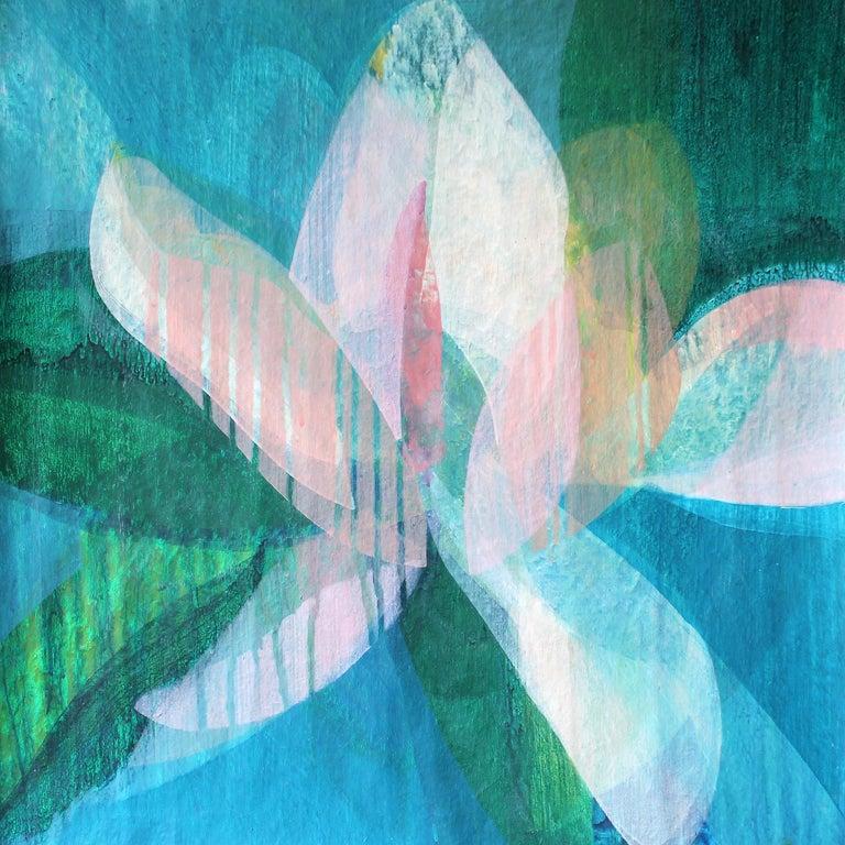 "Katherine Sandoz Abstract Painting - ""(Magnolia II) Maya Blue"" - Colorful Abstract Botanical Painting - Frankenthaler"
