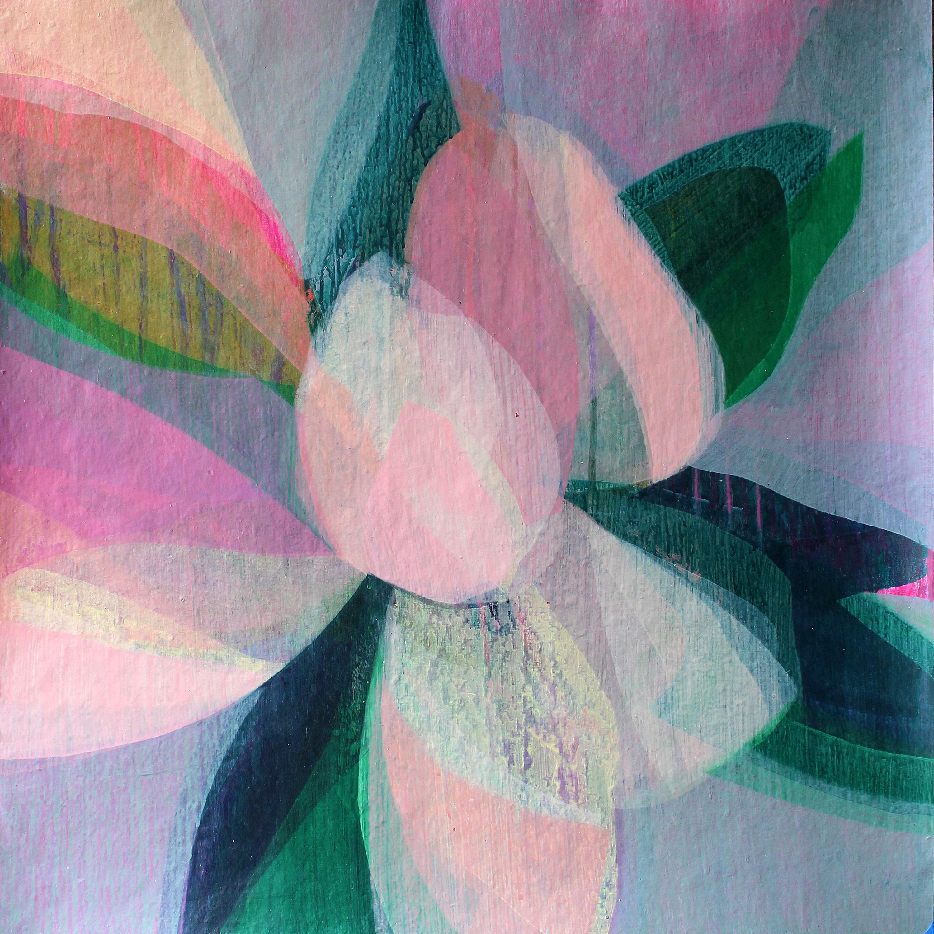 """""""(Magnolia II) Oyster"""" - Colorful Abstract Botanical Painting - Frankenthaler"""