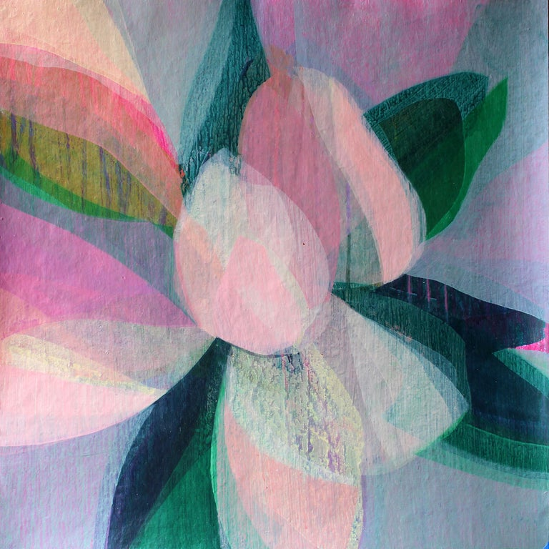 "Katherine Sandoz Abstract Painting - ""(Magnolia II) Oyster"" - Colorful Abstract Botanical Painting - Frankenthaler"