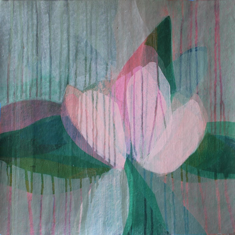 """Katherine Sandoz Abstract Painting - """"(Magnolia II) Pale Pink"""" - Colorful Abstract Botanical Painting - Frankenthaler"""